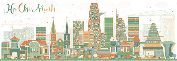 Abstract Ho Chi Minh Skyline with Color Buildings. - Buildings Objects