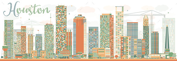Abstract Houston Skyline with Color Buildings Sky. - Buildings Objects