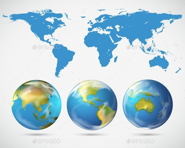 World Map and Different Parts of the World - Miscellaneous Conceptual