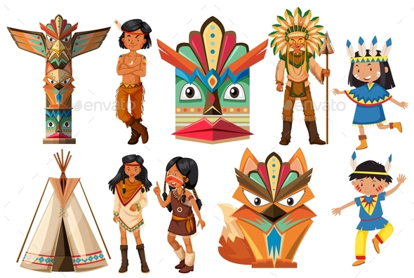 Native American Indians and Traditional Items - People Characters