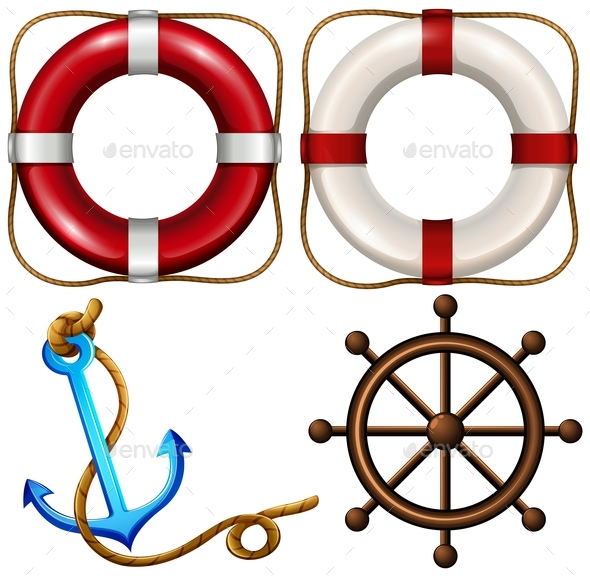 Marine Symbol with Safety Rings and Anchor - Miscellaneous Conceptual