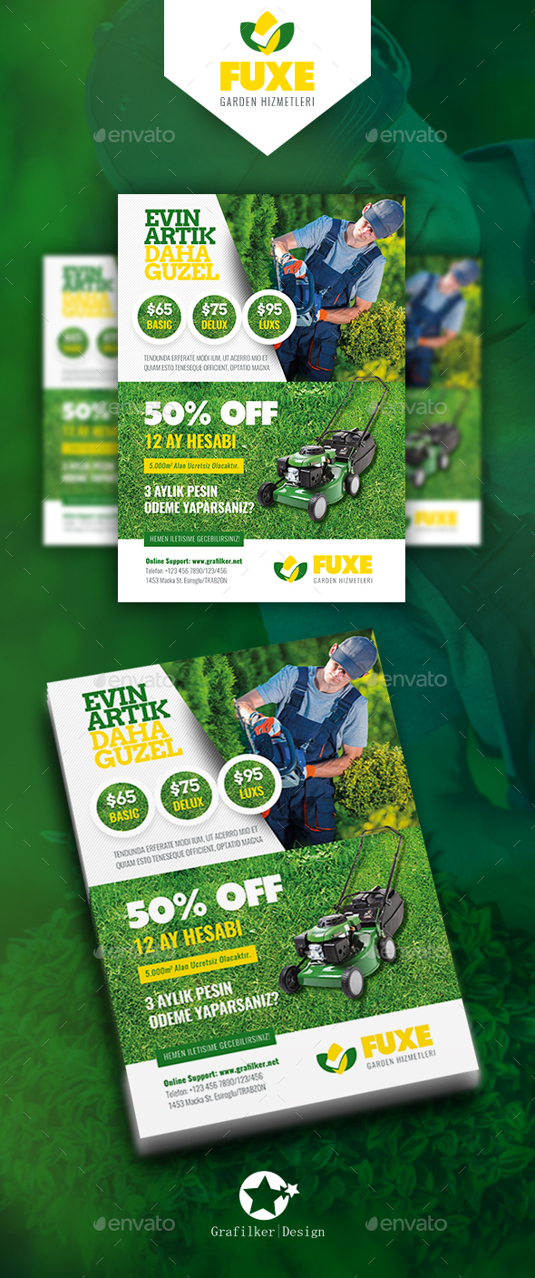 Garden Landscape Flyer Templates By Grafilker GraphicRiver - Landscaping flyer templates