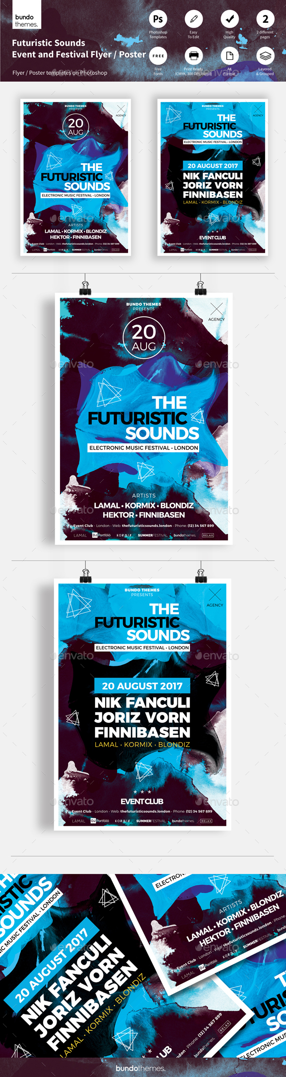 Futuristic Sounds Festival and Event Flyer / Poster - Events Flyers