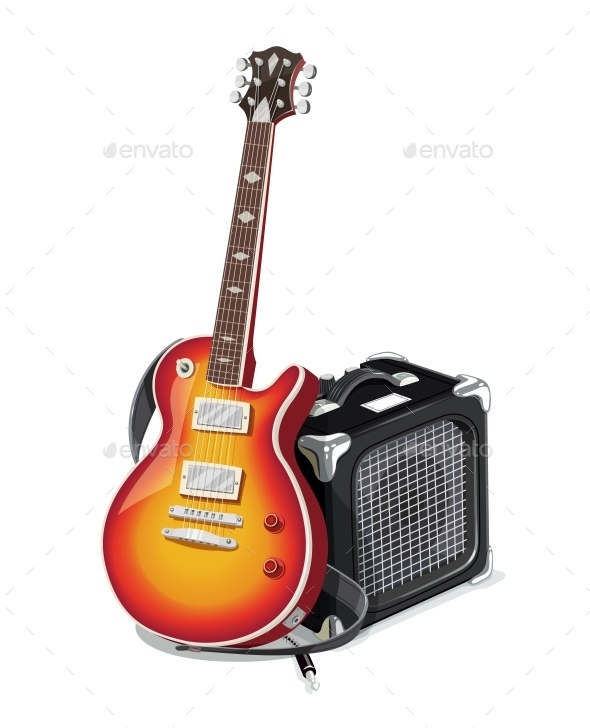 Classic Electric Guitar With Amplifier - Vectors