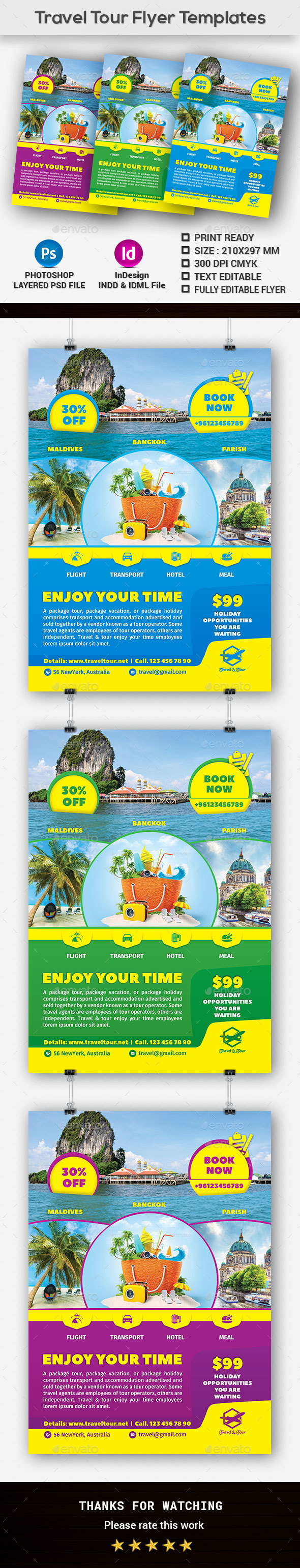 Travel Tour Flyer Templates - Holidays Events