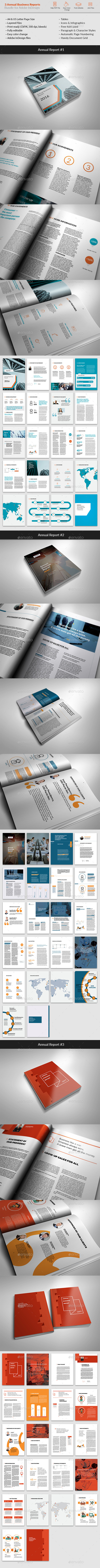 Bundle - 3 Annual Reports - Brochures Print Templates