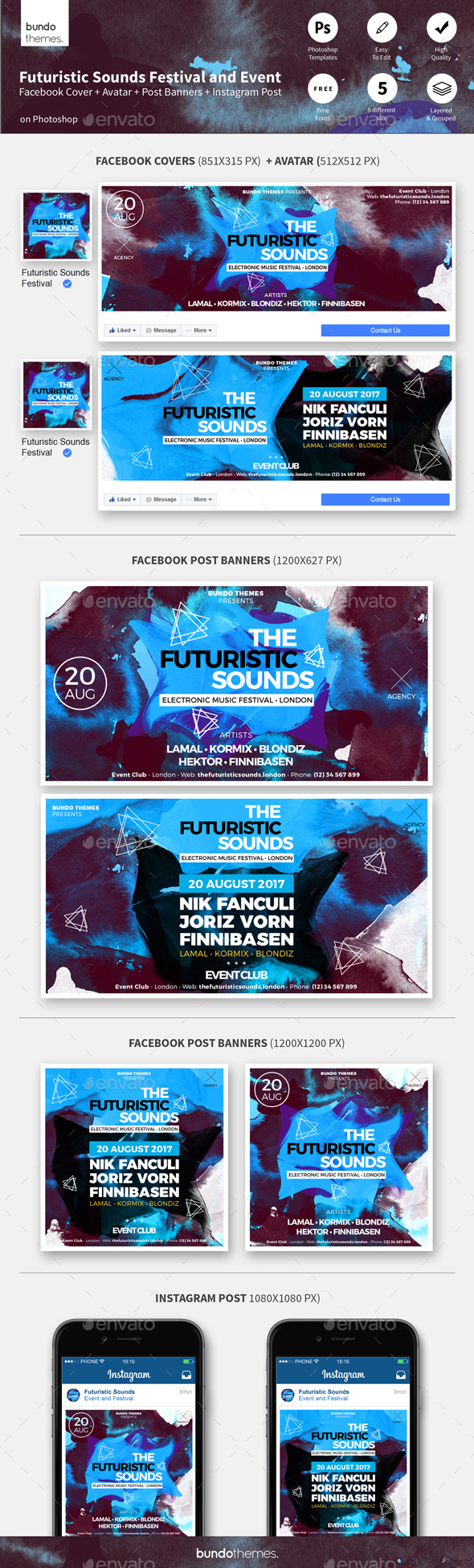 Futuristic Sounds Festival and Event Facebook/Instagram Templates - Social Media Web Elements