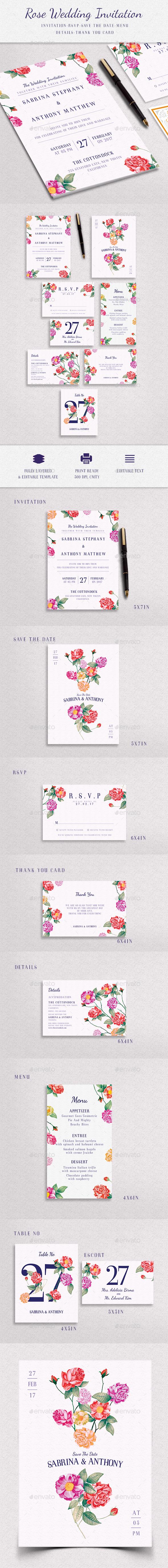 Floral Elegant Wedding Invitation Package - Invitations Cards & Invites