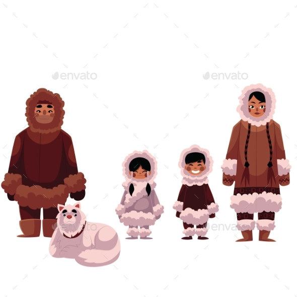Eskimo, Inuit Family of Father, Mother and Kids - People Characters