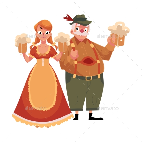 Man and Woman in Traditional German, Bavarian - People Characters