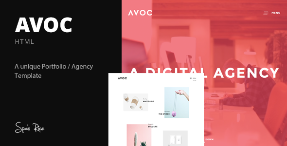 Avoc - Minimal Portfolio / Agency Template - Portfolio Creative