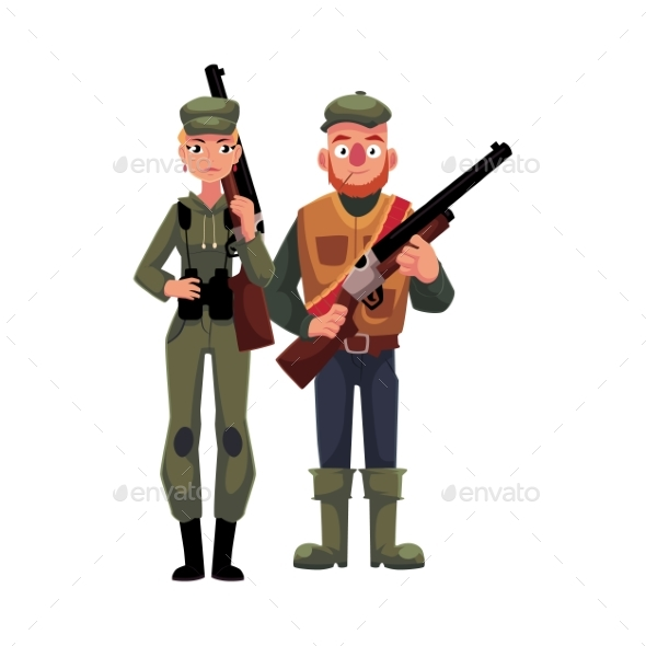 Two Typical Hunters, Male and Female, Standing - People Characters