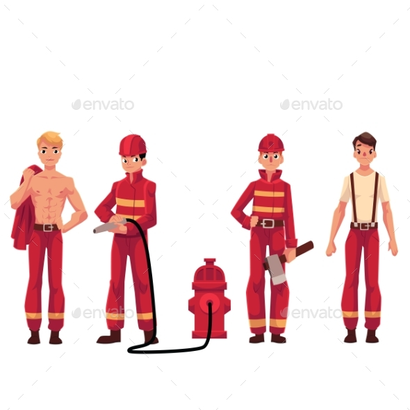 Firefighter, Fireman in Red Protective Suit - People Characters