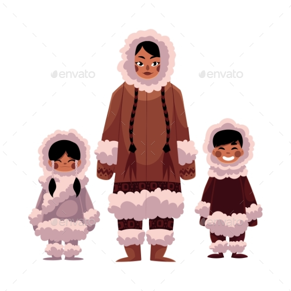 Eskimo, Inuit Woman with Two Kids in Warm Winter - People Characters
