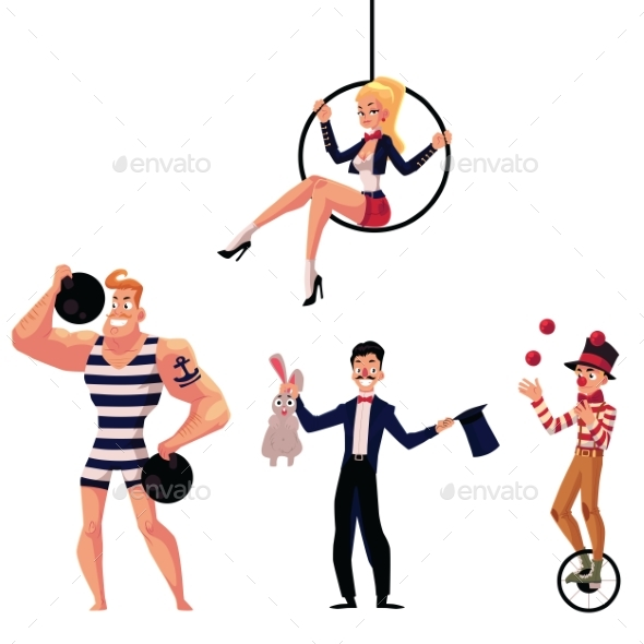 Circus Artists - Strongman, Illusionist, Aerial - People Characters