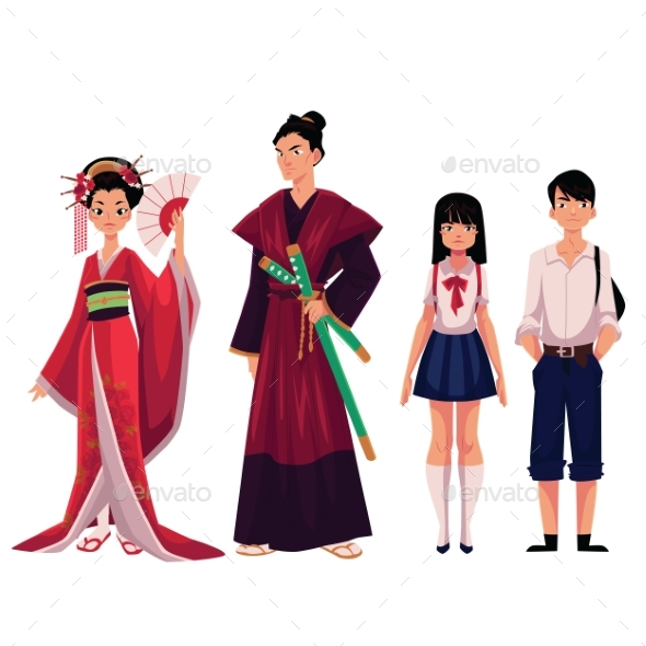 Japanese People - Geisha and Samurai, Typical - People Characters