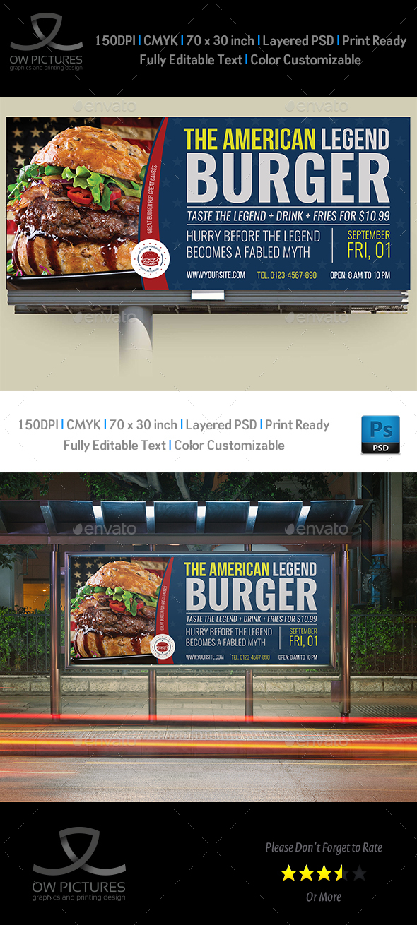Burger Restaurant Billboard Template Vol.8 - Signage Print Templates