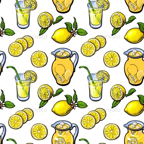 Sketch Style Seamless Pattern of Lemon, Lemonade - Backgrounds Decorative