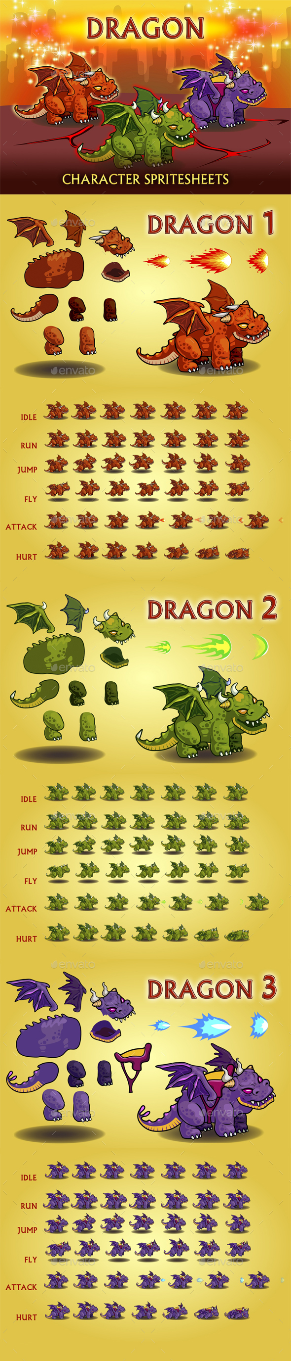 Dragon 2D Game Character Sprite Sheet - Sprites Game Assets