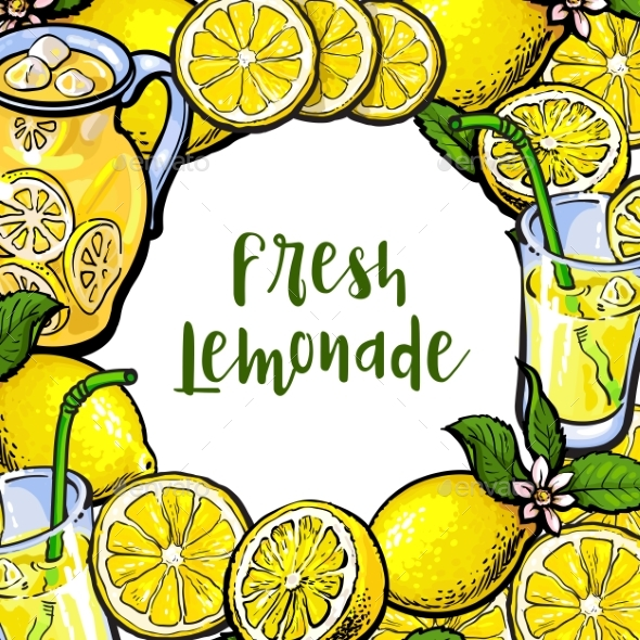 Square Frame of Lemons, Lemonade with Round Place - Food Objects