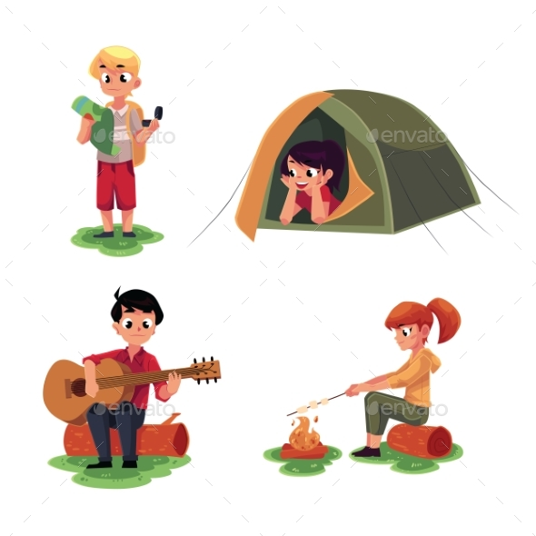Kids Studying Map, in Camping Tent, Playing Guitar - People Characters