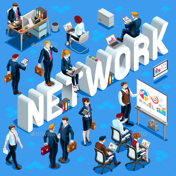 Isometric People Network Icon 3D Set Vector Illustration - Communications Technology