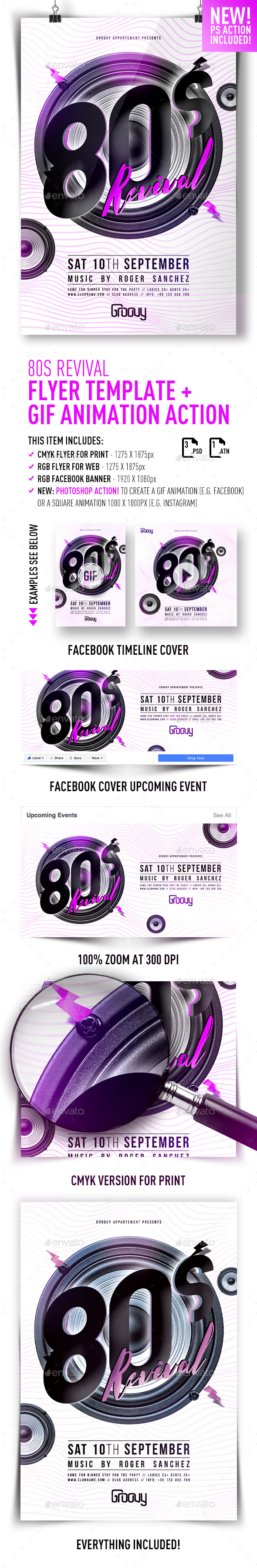 80s Revival Flyer Template + GIF Action - Print Templates