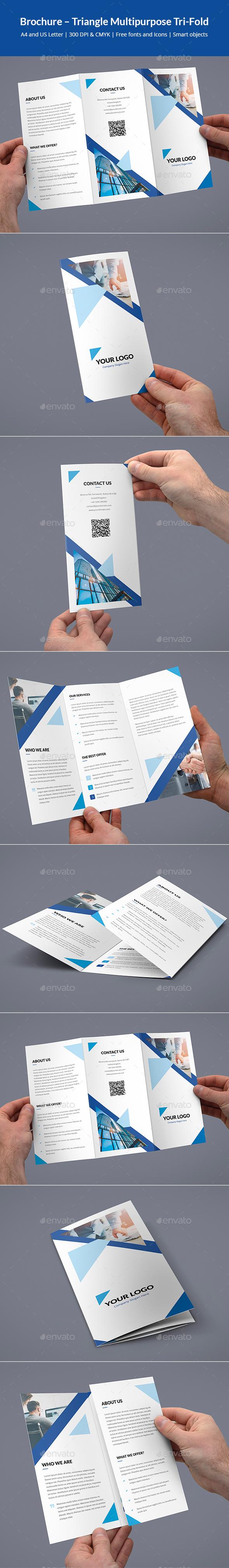 Brochure – Triangle Multipurpose Tri-Fold - Brochures Print Templates
