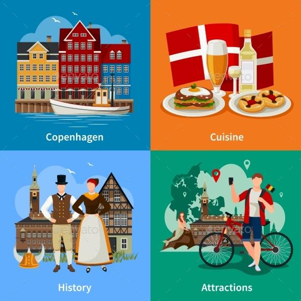 Denmark Flat Style Concept - Travel Conceptual