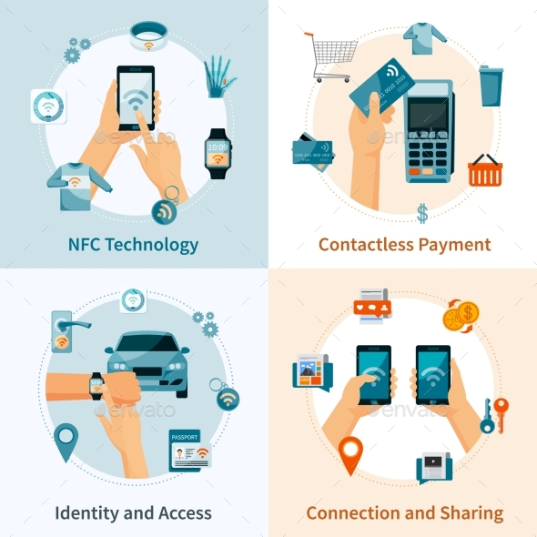 NFC Technology Flat Style Compositions - Communications Technology