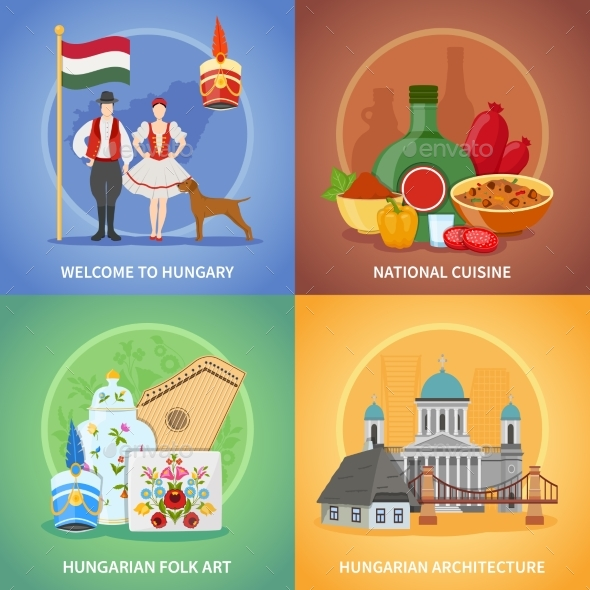 Hungarian Culture Compositions Set - Travel Conceptual