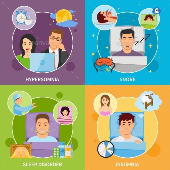 Sleep Disorders Compositions Set - Miscellaneous Conceptual