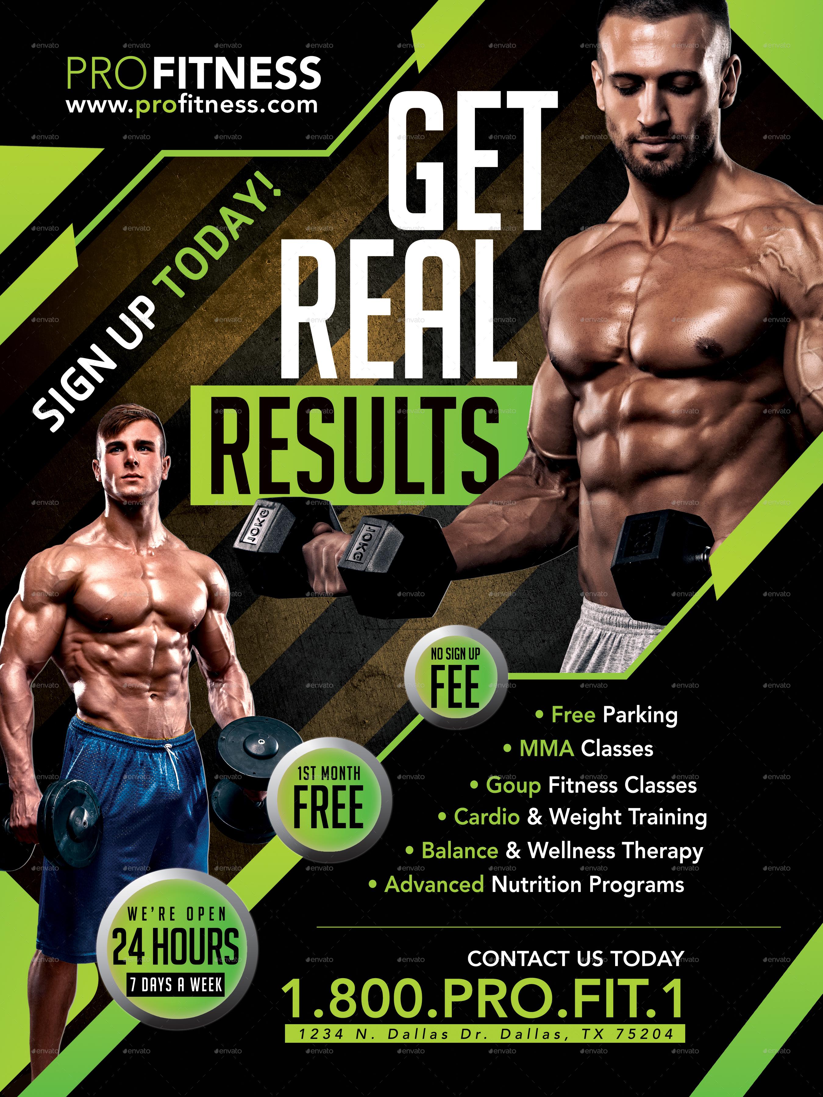 Gym Amp Fitness Flyer Poster Template V1 By Megaboiza