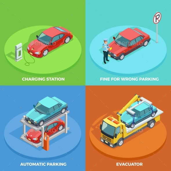 Parking Isometric Collection - Miscellaneous Vectors