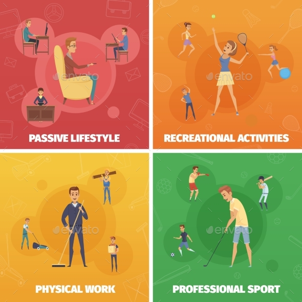 Physical Activity Compositions Set - Sports/Activity Conceptual