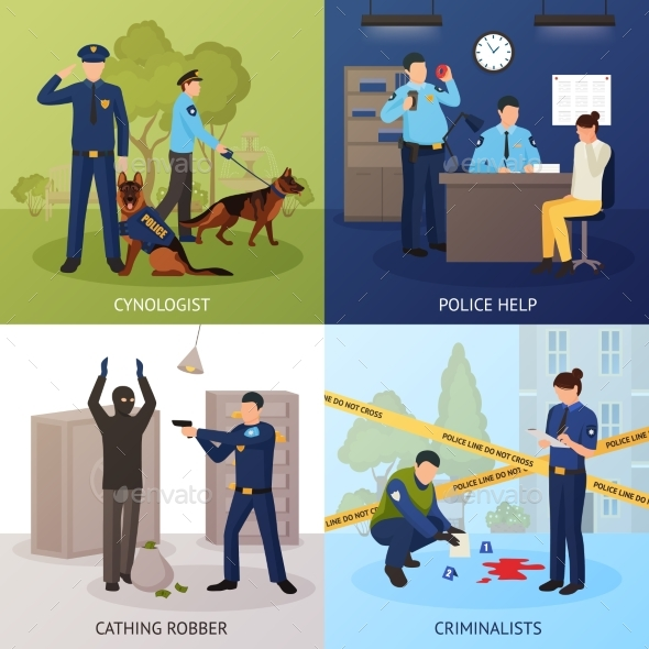 Police Service 4 Flat Icons Square - Miscellaneous Conceptual