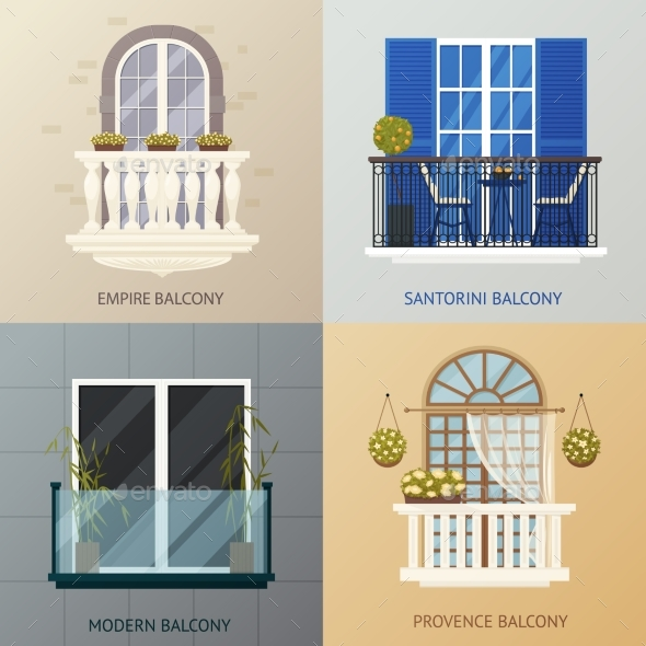 Balcony Design Compositions Set - Conceptual Vectors