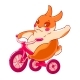 Cartoon Bunny on a Bike Waving His Hand - GraphicRiver Item for Sale