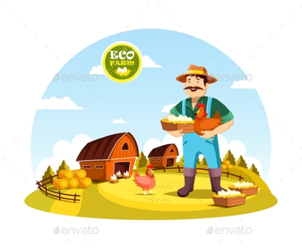 Cartoon Farmer Man Holding Eggs and Hen - Food Objects