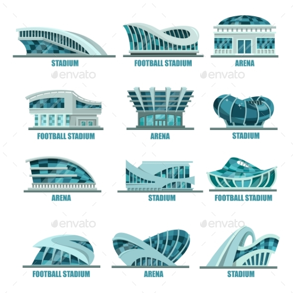 Arena Building or Soccer, Football Stadiums Icons - Sports/Activity Conceptual