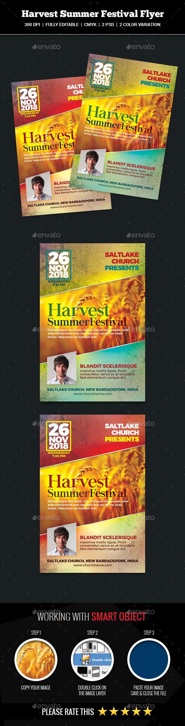 Harvest Summer Festival Flyer - Church Flyers