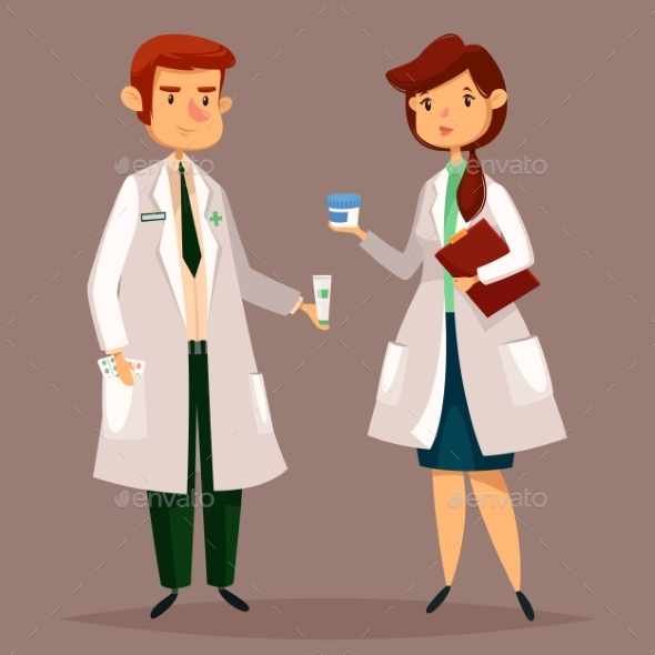 Pharmacist and Woman Druggist with Pills - Health/Medicine Conceptual
