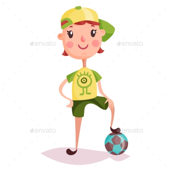 Little Boy or Kid with Soccer Ball - People Characters