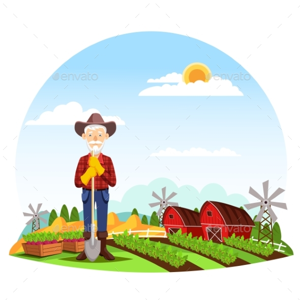 Man or Grandfather Farmer at Farm - People Characters