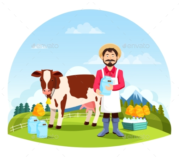 Man Near Cow with Bottles and Cans of Milk - Animals Characters