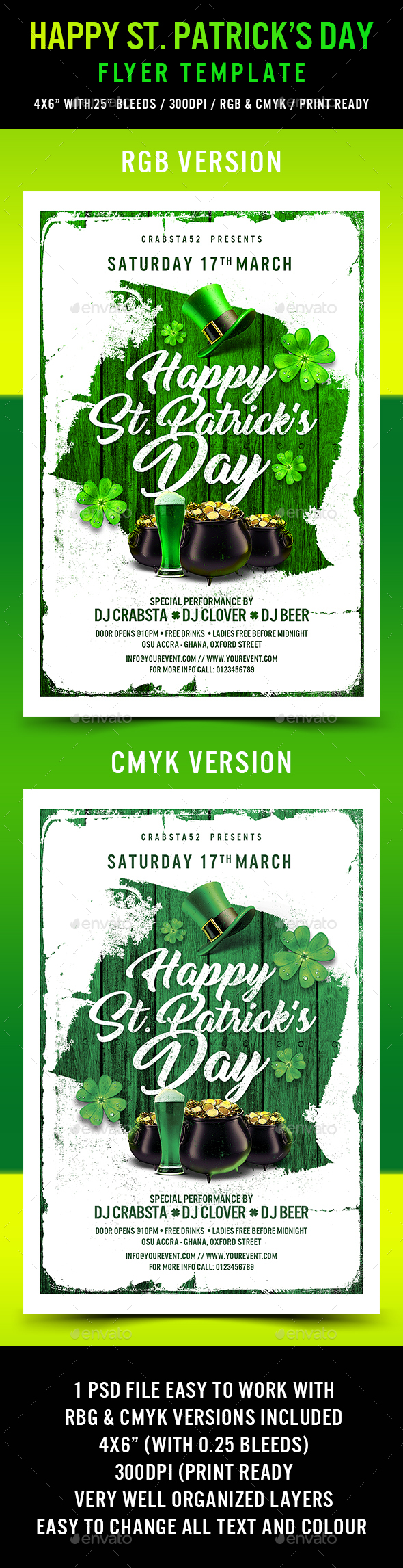 Happy St. Patrick's Day Flyer Template - Events Flyers