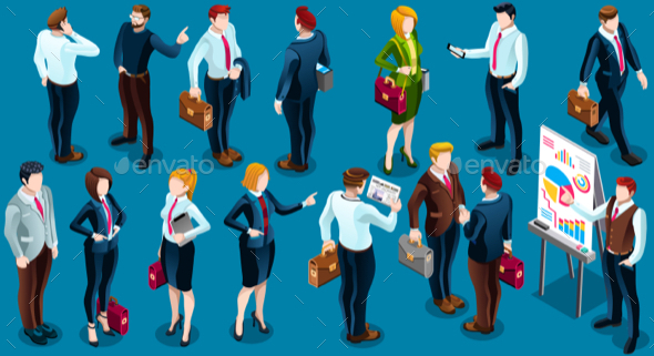 Isometric People Standing Staff 3D Icon Set Vector Illustration - People Characters