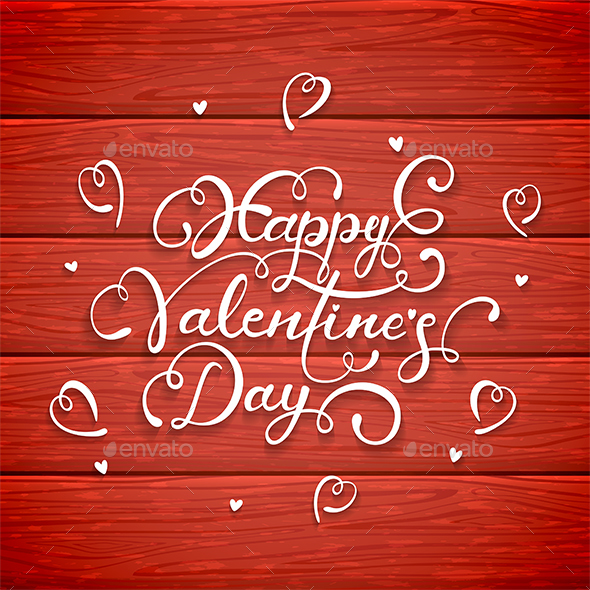 Happy Valentines Day on Red Wooden Background - Valentines Seasons/Holidays