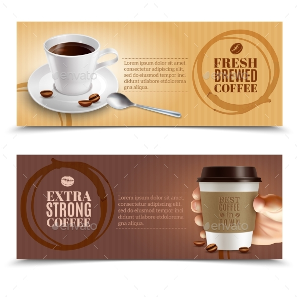Coffee Horizontal Banners Set - Services Commercial / Shopping