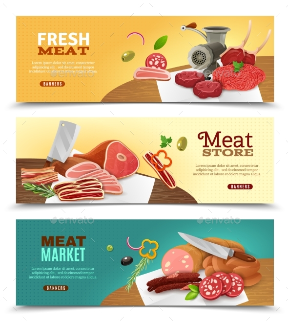 Meat Market Horizontal Banners Set - Food Objects